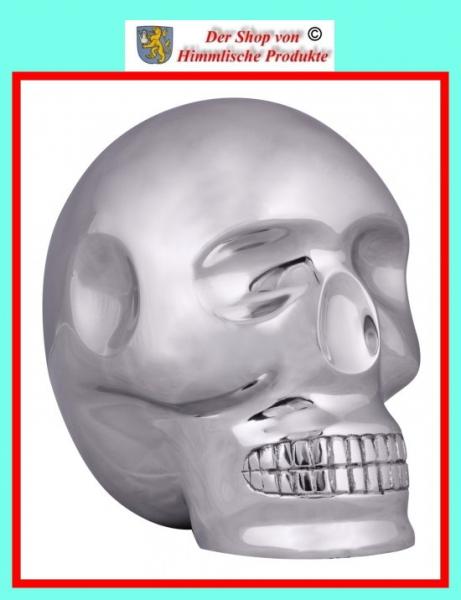 Wohnling Design XXL Deko Skull Aluminium silbern Schädel