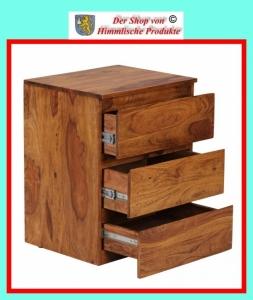 wohnling design natur sheesham massivholz rollcontainer 47 x 40 x 61 cm f r schreibtisch mit 3. Black Bedroom Furniture Sets. Home Design Ideas